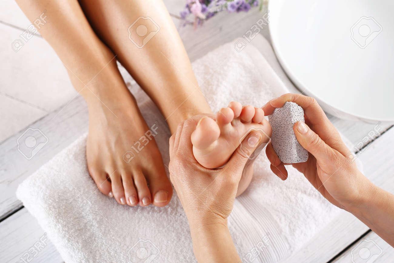 Scrub, Scrub With Pumice Dead Epidermis. Foot Care Treatment.. Stock ...