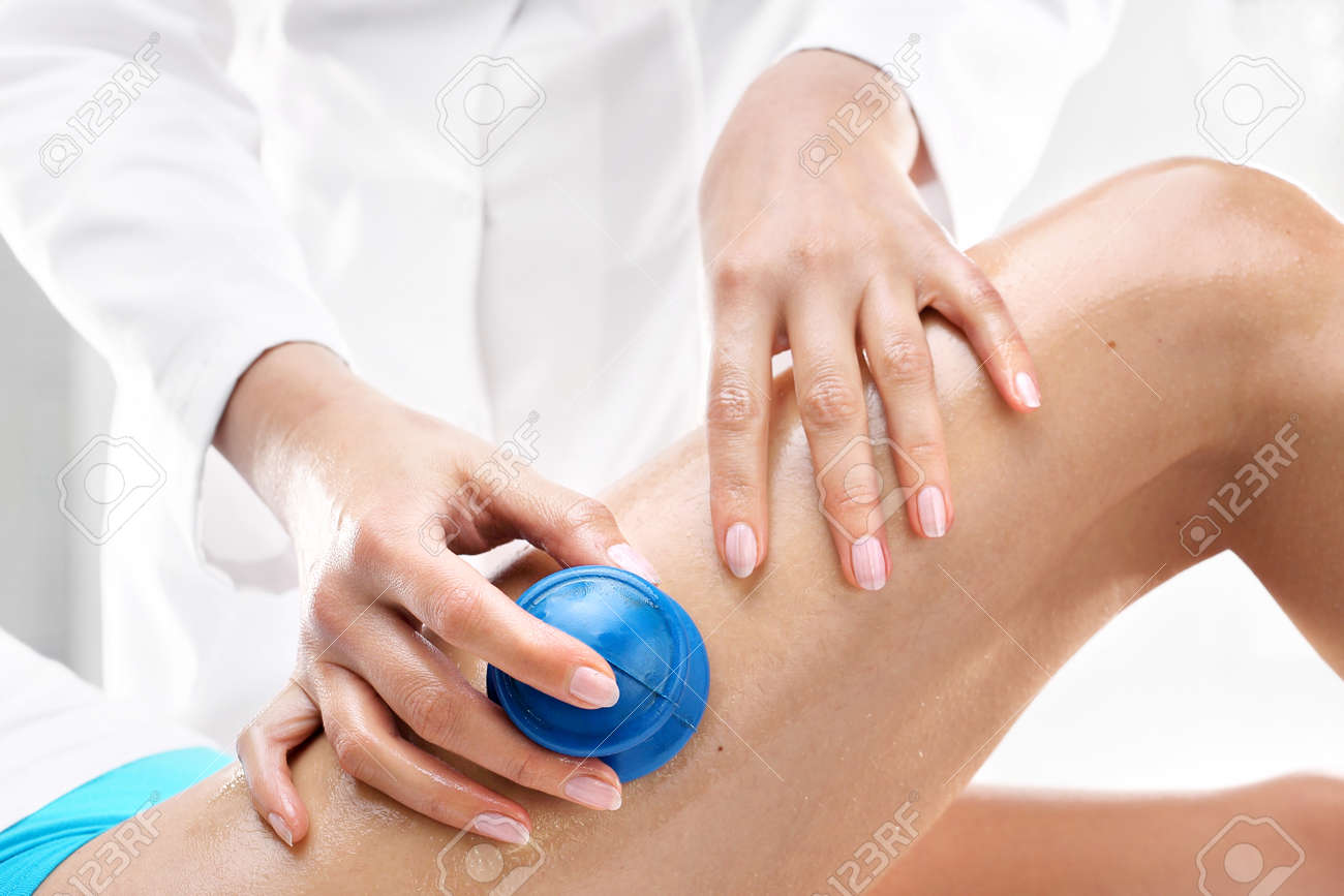 Lymphatic Drainage. Beautician Massaged Women Can Rubber Bubbles ...