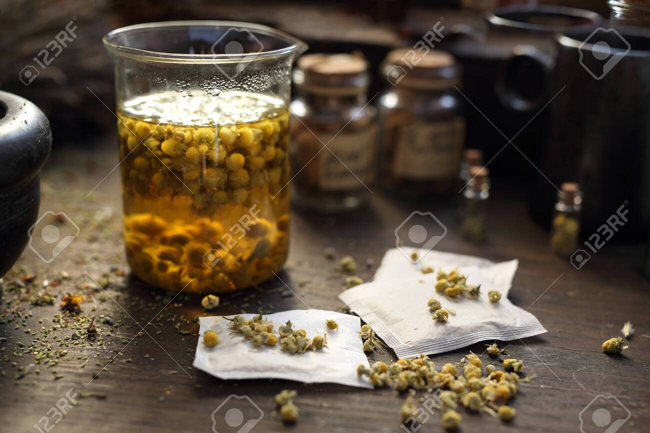 Chamomile Herbs In Traditional Medicine Home Medicine Cabinet Stock Photo Picture And Royalty Free Image Image 121768694