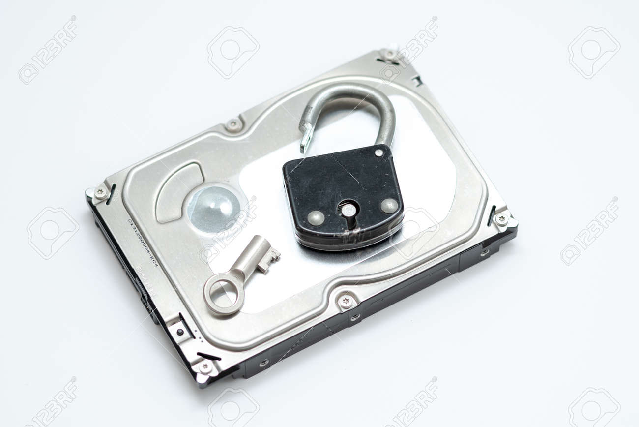 Computer hard disks and open metal padlock symbolizing concept for encrypted data, cyber security on white background - 162314754