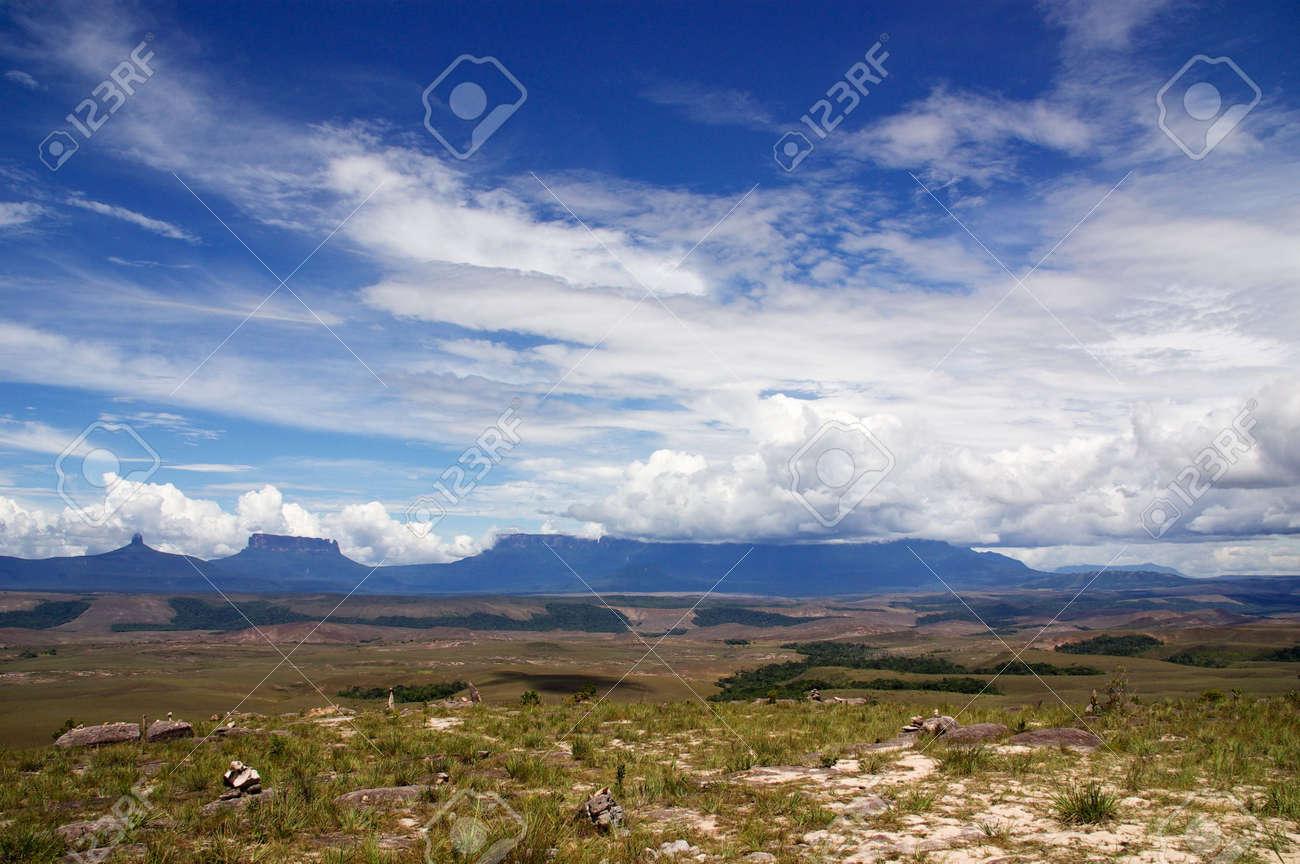 Flat Spitze Berge Genannt Tepui In Der Gran Sabana Guayana