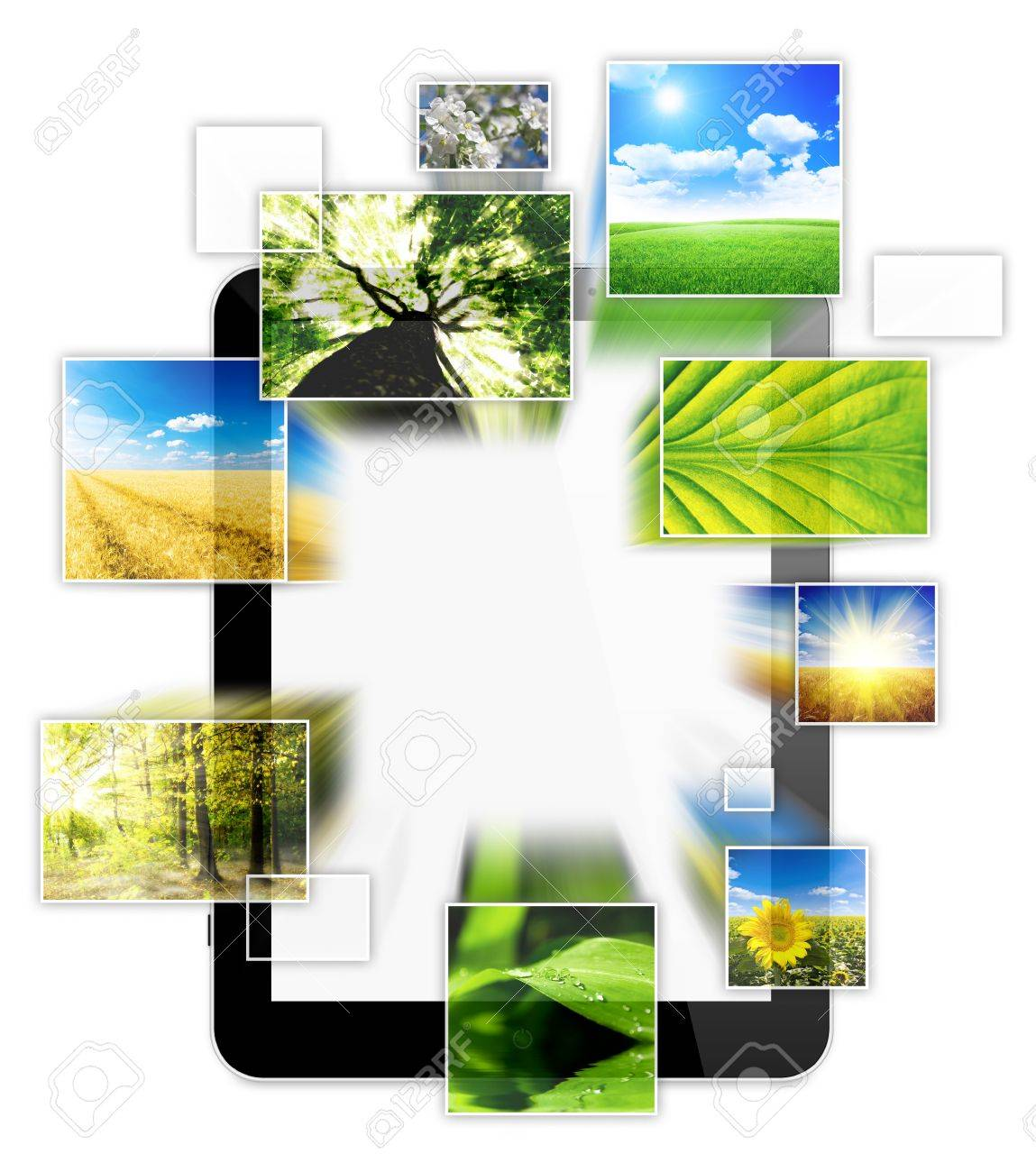 one computer tablet, with photo collage of nature, isolated on white background Stock Photo - 18148209