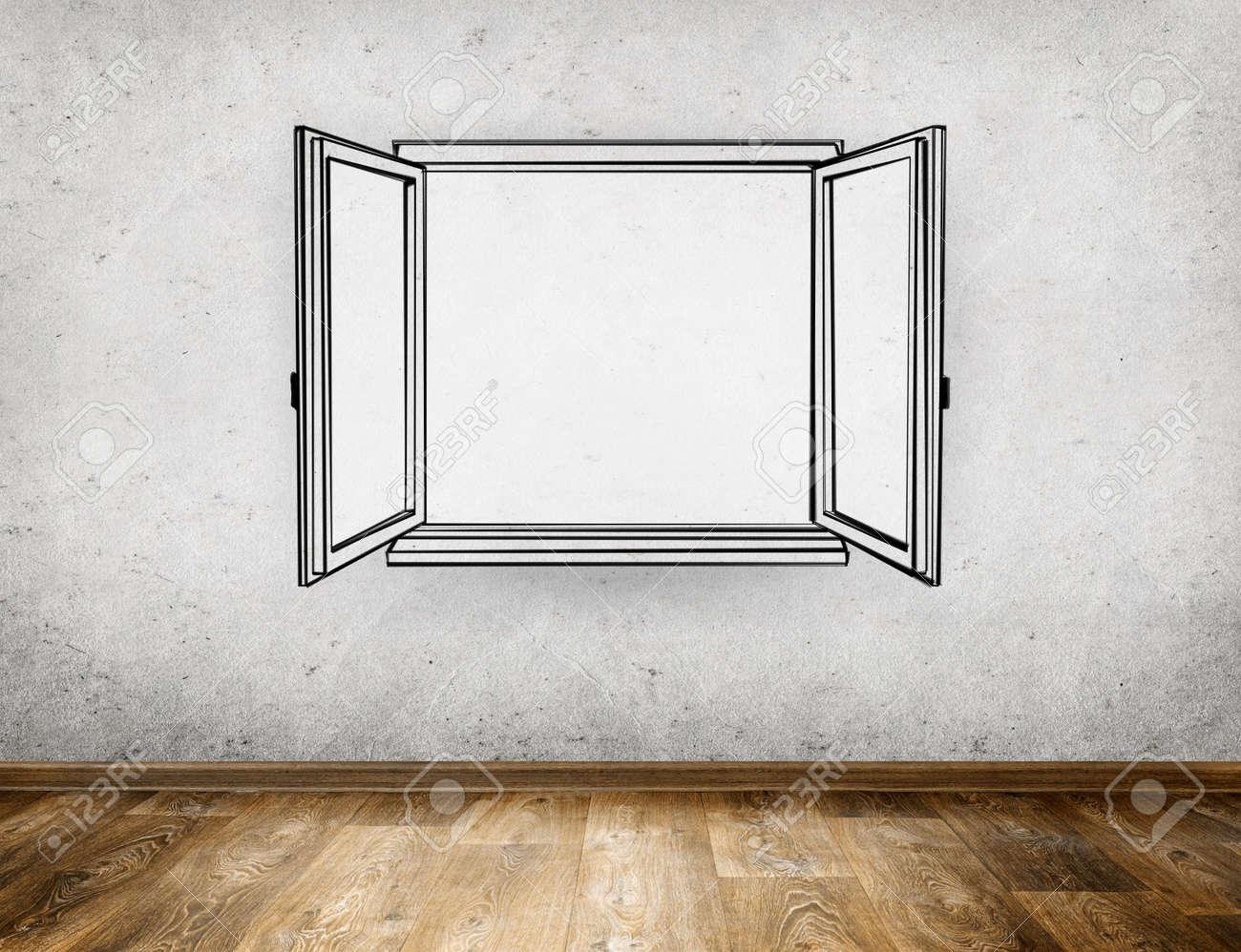 Offenes fenster zeichnen  Hand Zeichnen Offenen Fenster Aus Alten Raum Hintergrund ...