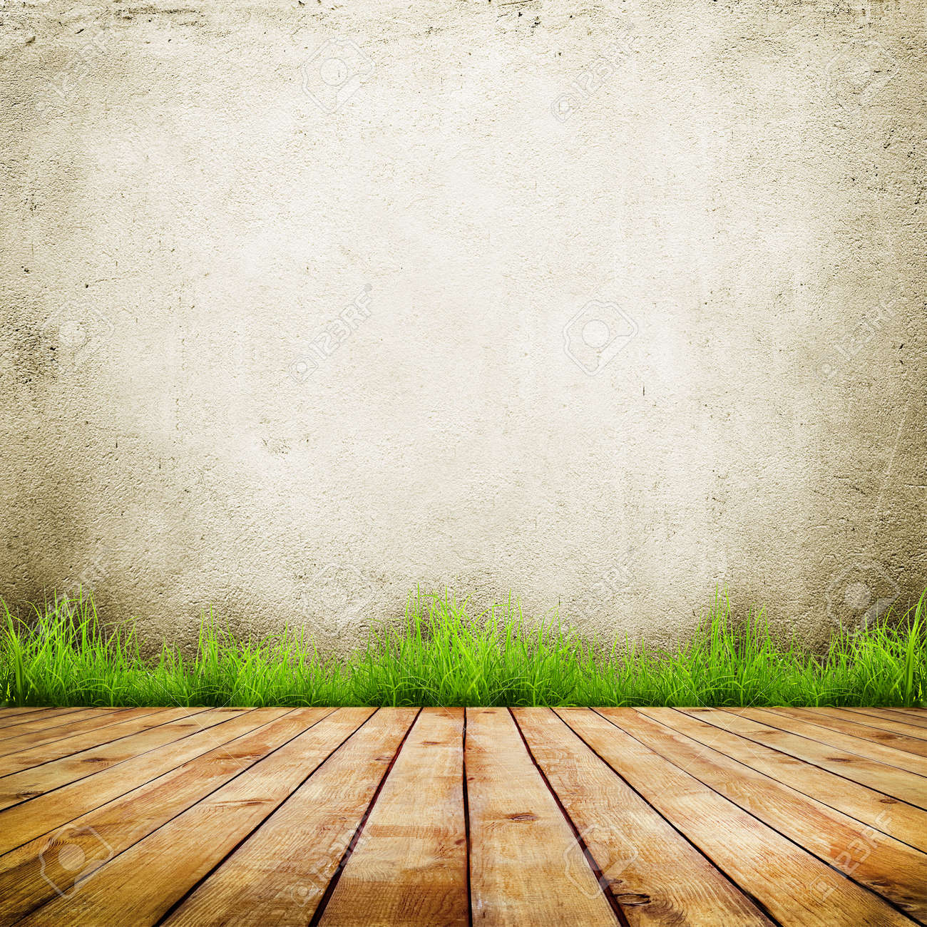 Old Wall And Green Grass On Wood Floor Background Stock Photo   24199368
