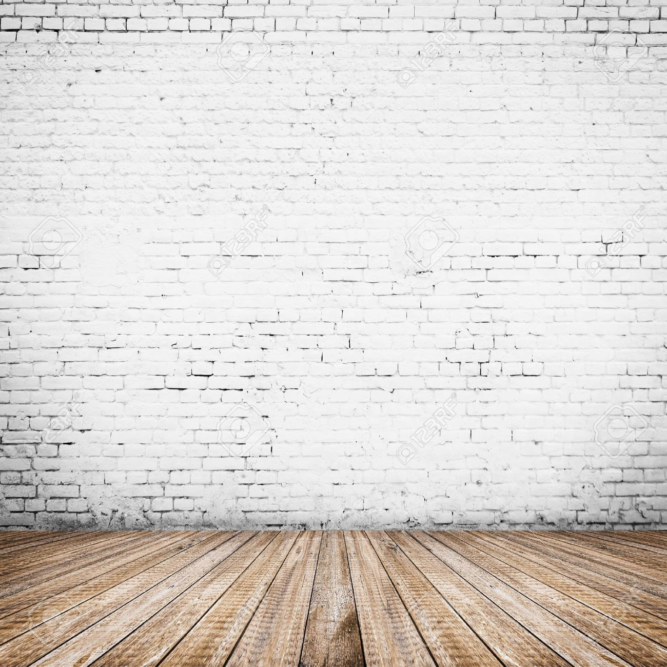 Room Interior Vintage With White Brick Wall And Wood Floor Stock Photo    25038345