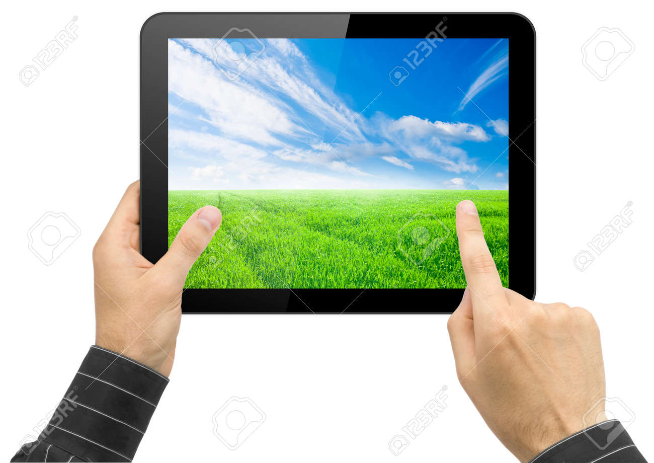 Black Tablet Pc With Nature Wallpaper In Hands On White Background