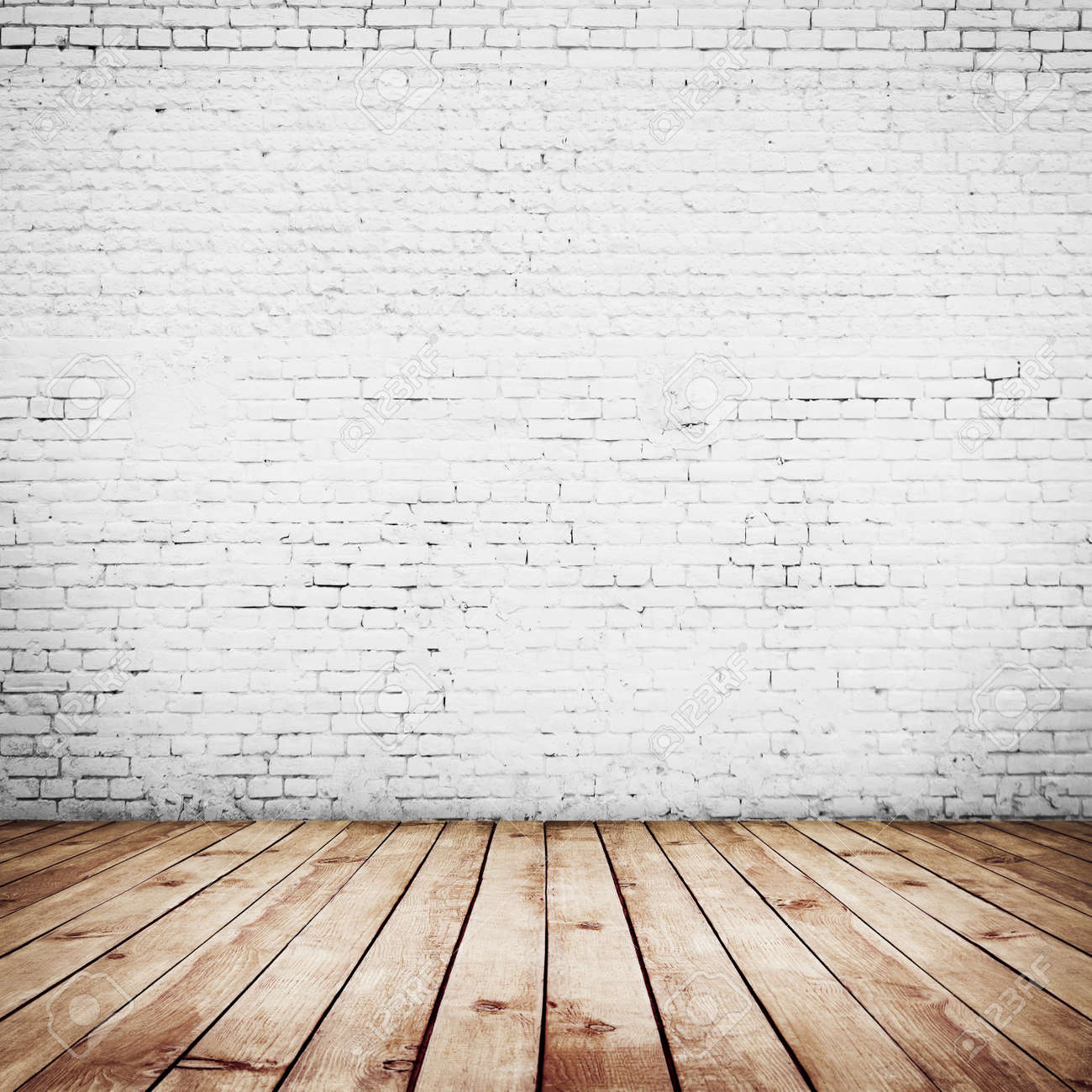 Stock Photo - room interior vintage with white brick wall and wood floor  background - Room Interior Vintage With White Brick Wall And Wood Floor