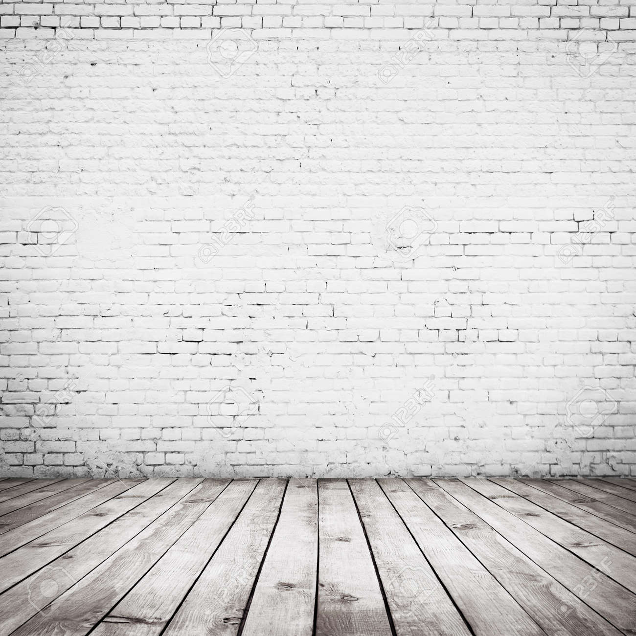 Room Interior Vintage With White Brick Wall And Wood Floor Background Stock  Photo   26568215