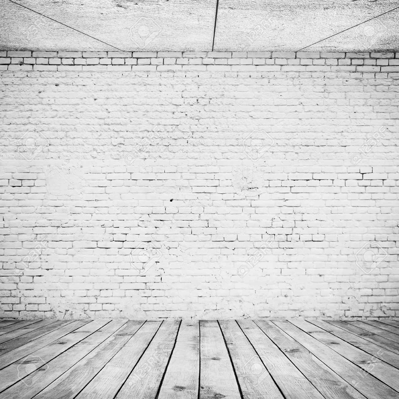 white wood floor background. Room Interior Vintage With White Brick Wall And Wood Floor Background Stock Photo - 27524713