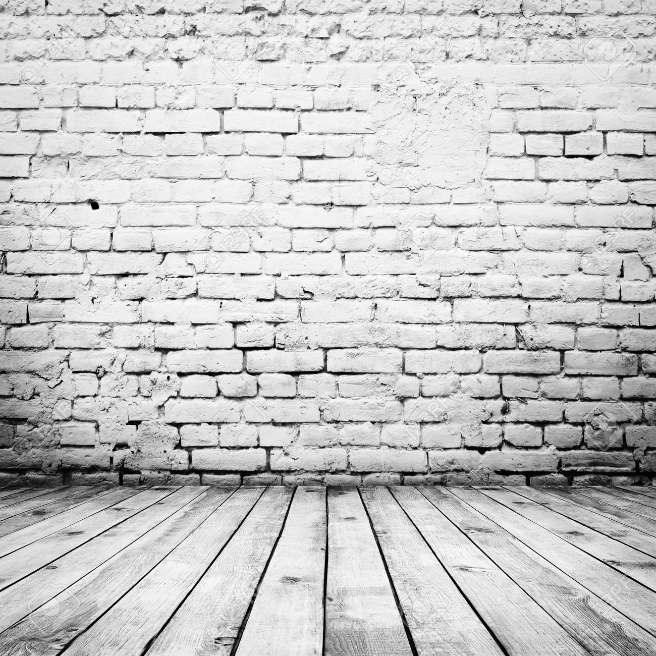 room interior vintage with white brick wall and wood floor background stock photo 35230850