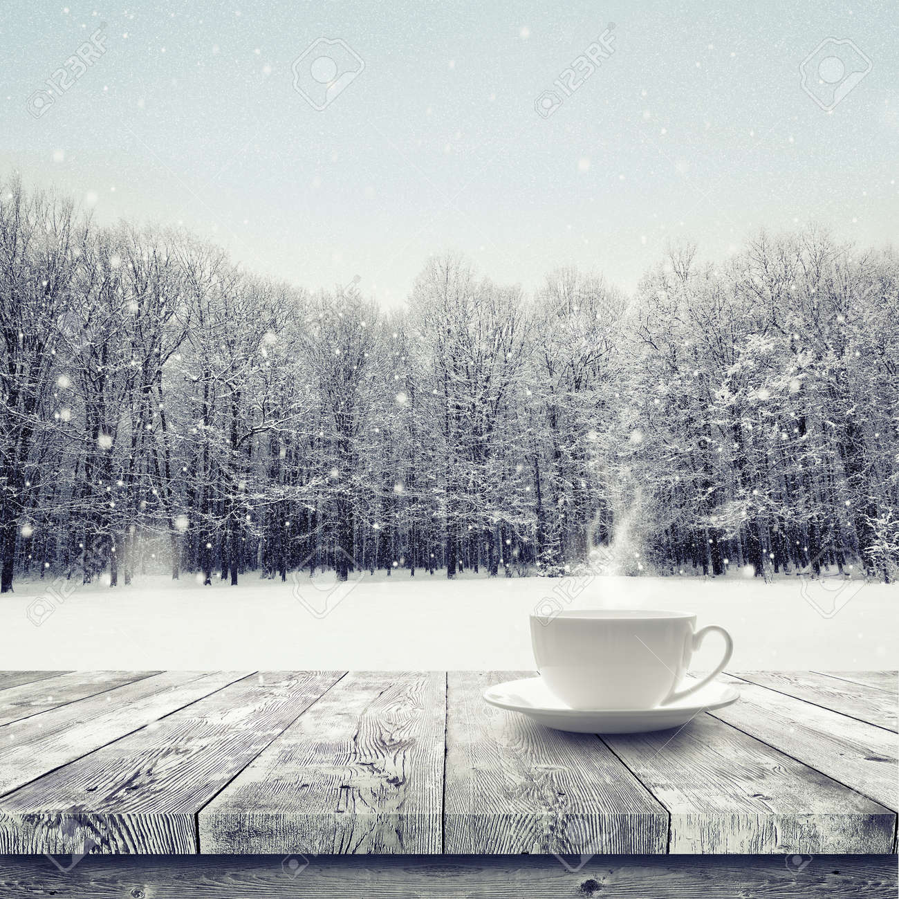 Hot drink in the cup on wooden table over winter snow covered forest. Beauty nature background - 50453675