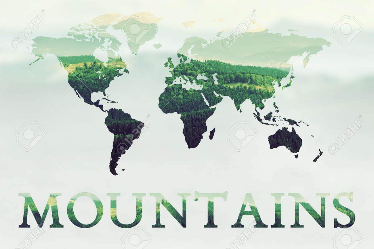 Double Exposure Of Green Mountains Forest And World Map Nature