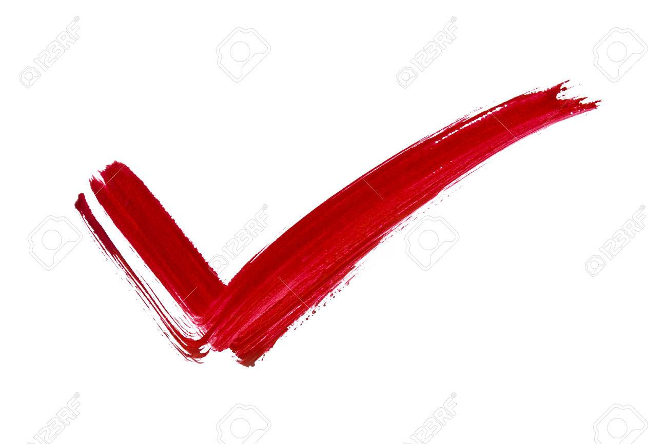 Red Mark Tick Painted By Brush On White Background Stock Photo