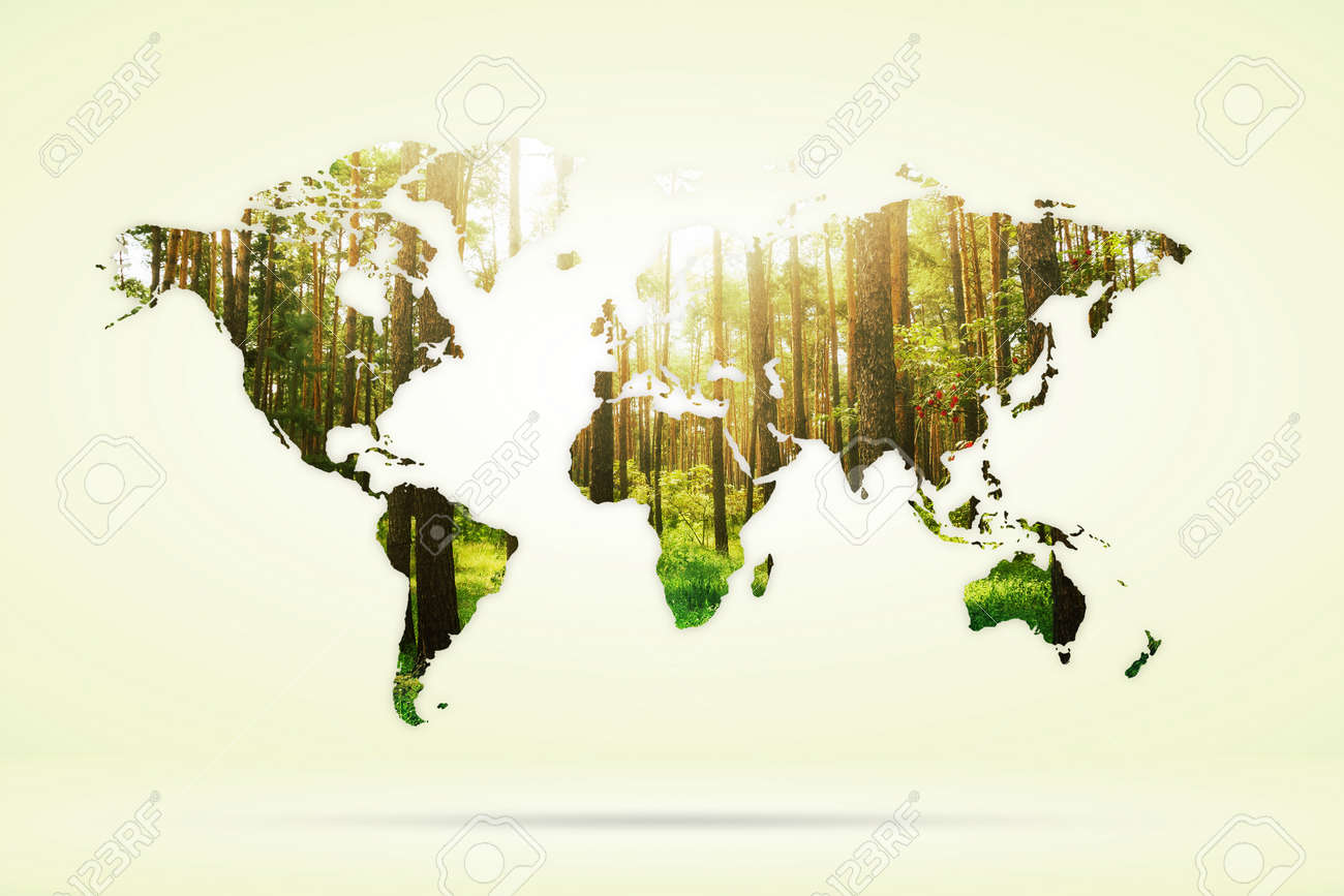 Double Exposure Of Green Forest And World Map Nature Concept