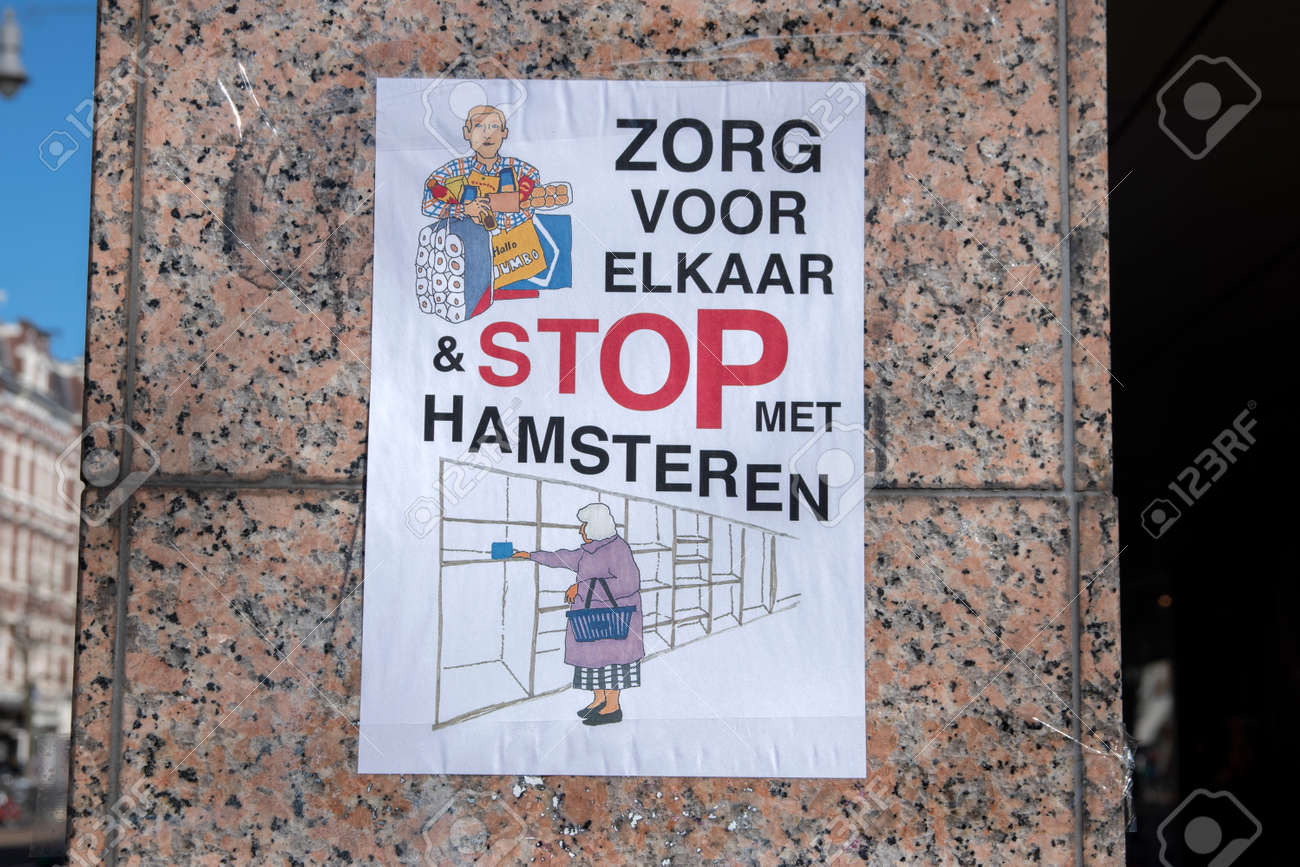 Selfmade Poster During The Coronavirus Outbreak At Amsterdam The Netherlands 2020 - 145095958