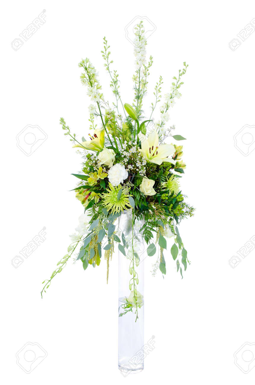 Large Wedding Flower Arrangement With Roses, Lilly, Mum, Spider ...