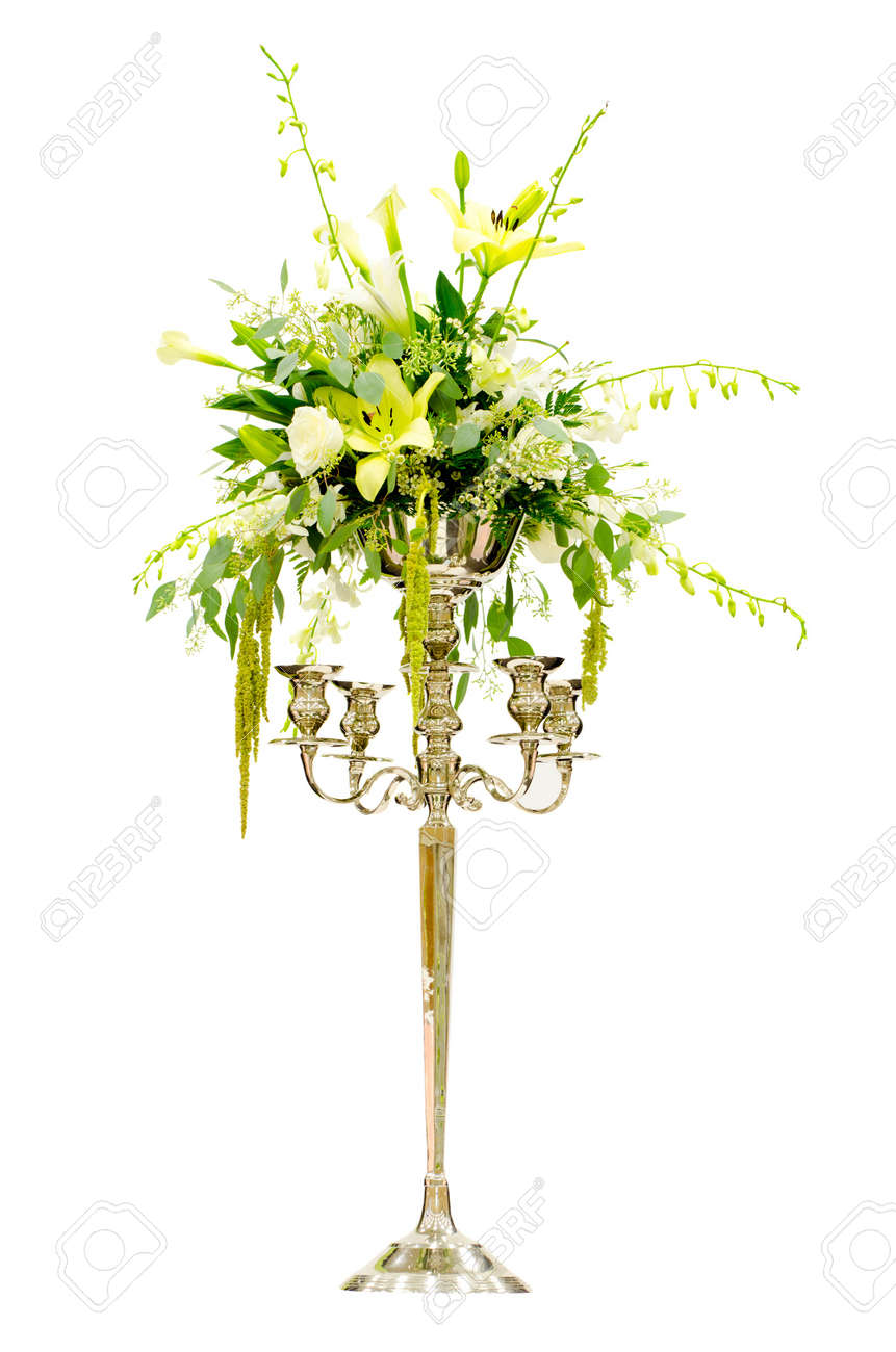 Wedding Flower Arrangement Centerpiece With Orchid, Rose, Lily ...