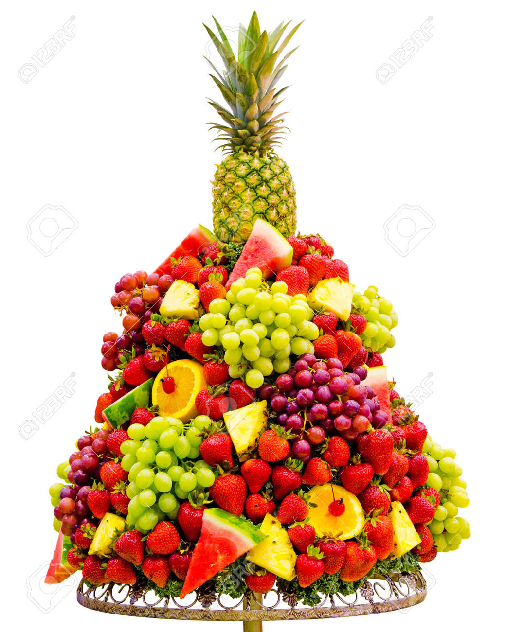 Ananas Buffet prepared fruit tree with strawberries, oranges, pineapples, grapes