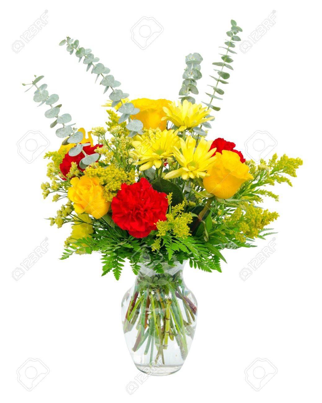Berühmt Bunte Blumen-Arrangement Herzstück In Glas-Vase Mit Rosen, Lilien &CB_03