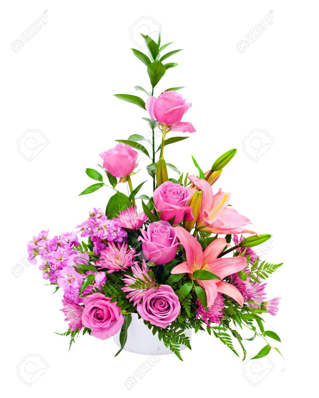 Colorido Arreglo Floral Central Púrpura Con Rosas Lirios Claveles Aislado En Blanco