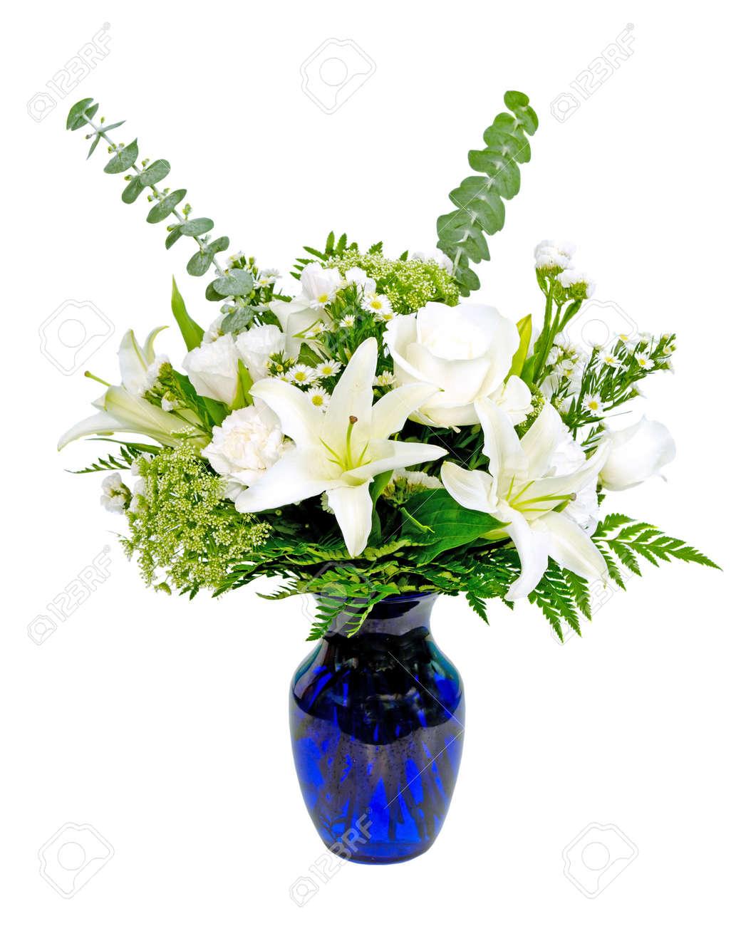White And Green Flower Arrangement Centerpiece In Blue Vase With