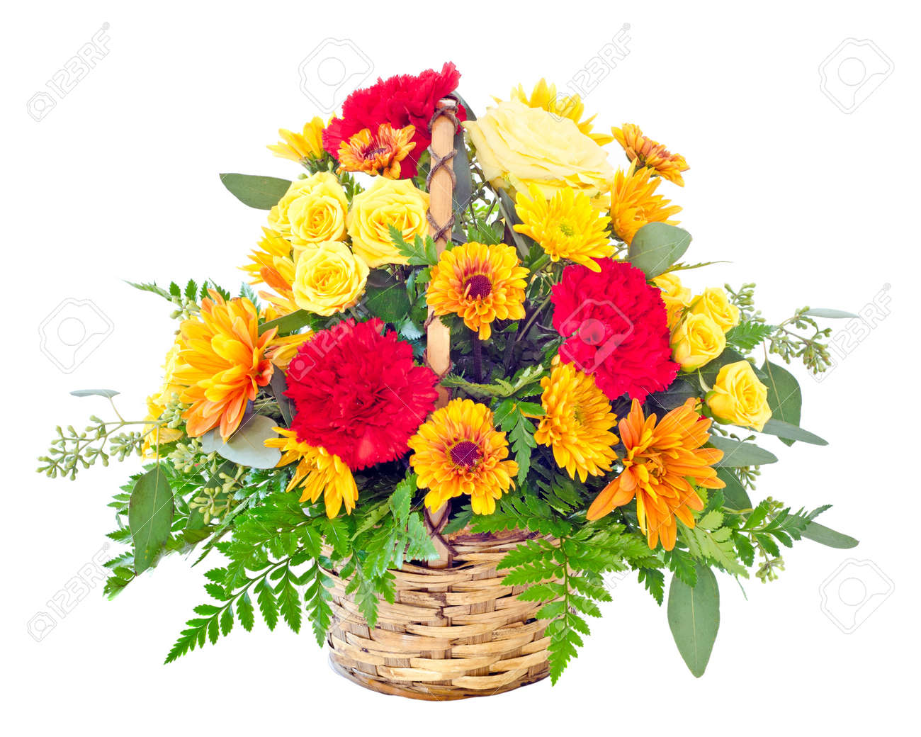 Flower arrangement with fall color carnations and daisies in stock flower arrangement with fall color carnations and daisies in basket stock photo 10997768 izmirmasajfo Choice Image