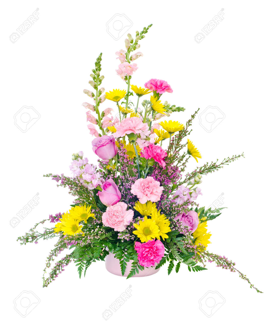 Colorful fresh flower arrangement centerpiece with daisies colorful fresh flower arrangement centerpiece with daisies carnations roses and snapdragons isolated on white izmirmasajfo