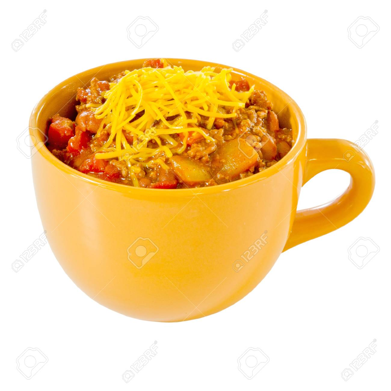 Cup of chili with cheese isolated on white Stock Photo - 11279484