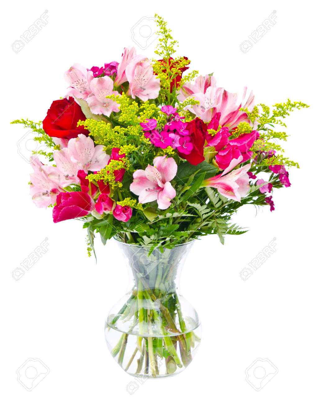 Colorful Flower Bouquet Arrangement Centerpiece In Vase Isolated ...
