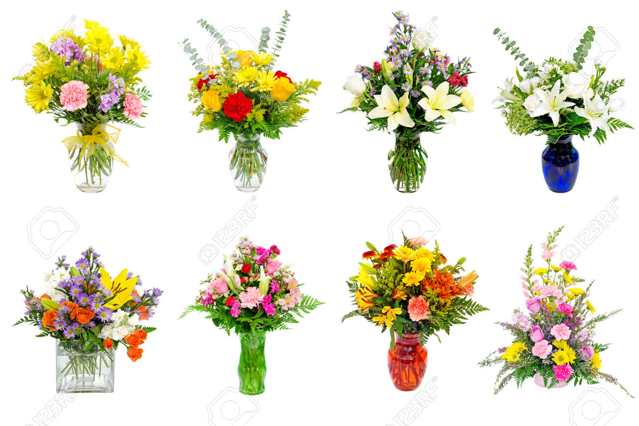 Collage Of Various Colorful Flower Arrangements Centerpieces Stock Photo Picture And Royalty Free Image Image 11519065