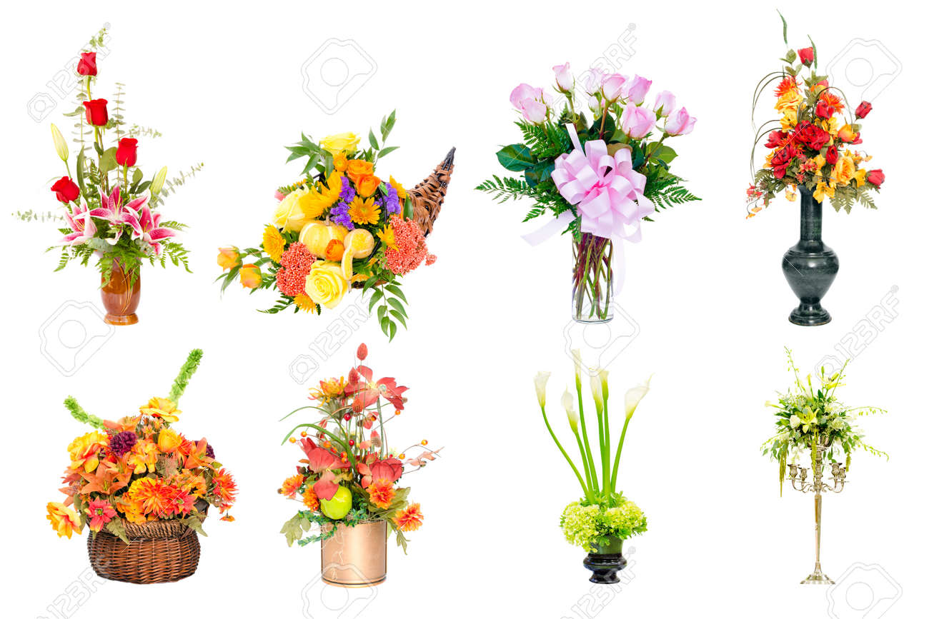 Collage Of Various Colorful Flower Arrangements Centerpieces Stock Photo Picture And Royalty Free Image Image 11519064