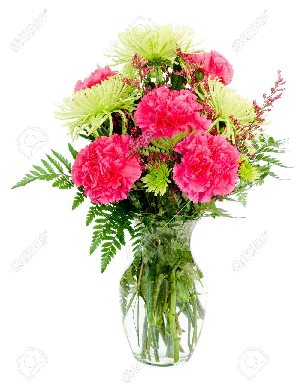 Colorful Pink And Green Flower Arrangement With Carnations And