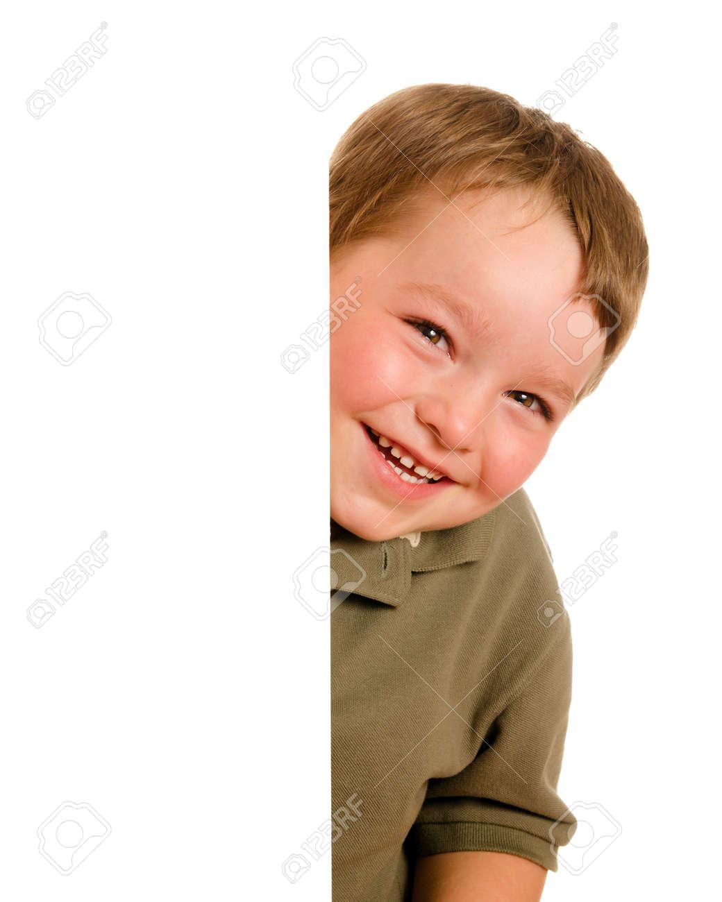 Portrait Of Happy Young Boy Child Peeking Around Corner Isolated ...