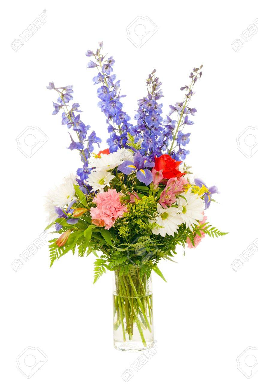Colorful fresh flower arrangement centerpiece with purple iris colorful fresh flower arrangement centerpiece with purple iris rose carnation daisy and delphinium mightylinksfo