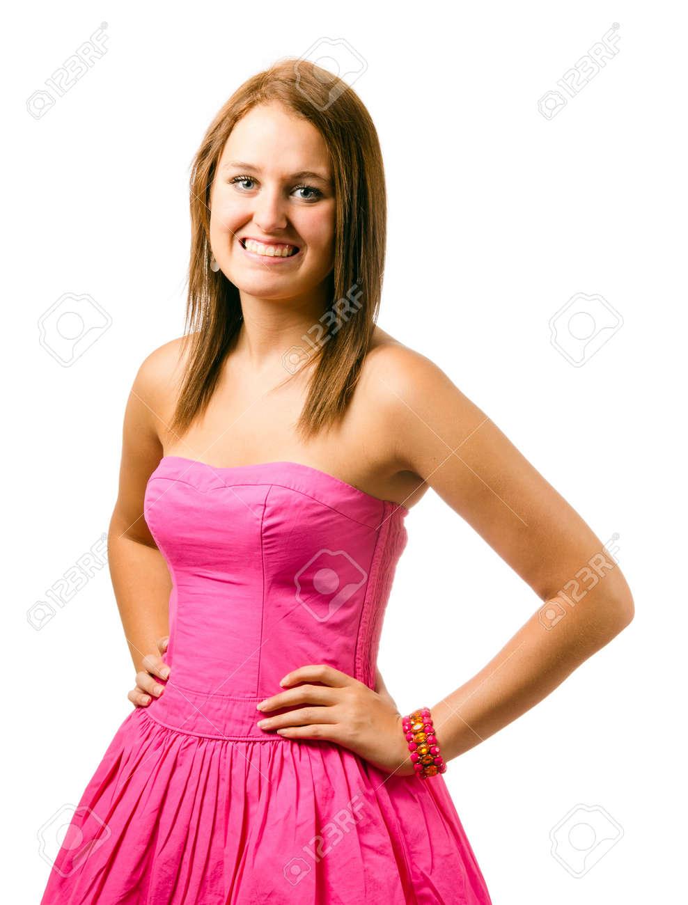 06c4ce4ea435c4 Portret van gelukkige lachende tiener meisje in roze jurk op wit wordt  geïsoleerd Stockfoto - 14337535