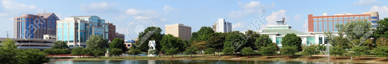 Panoramic cityscape of downtown Huntsville, Alabama from Big Spring Park Stock Photo - 14522667