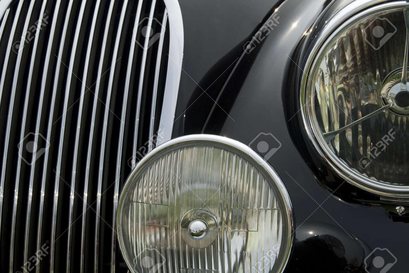 Close up detail of a classic Jaguar car at a car show Stock Photo - 1117454