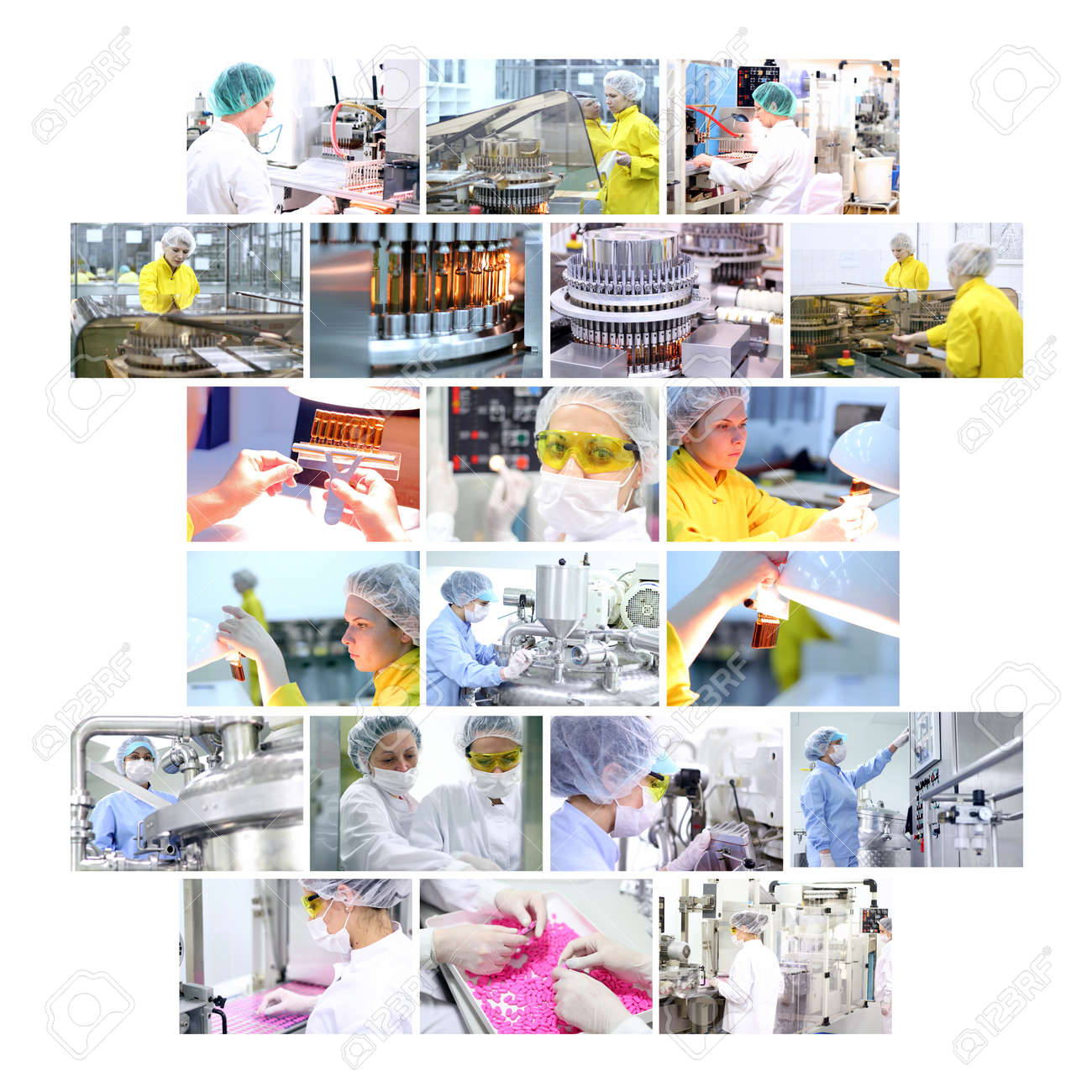 Industrial collage showing workers at work on production of medicines in pharmaceutical factory - vaccines, medicines in ampules, pills, capsules, tablets - 11858987