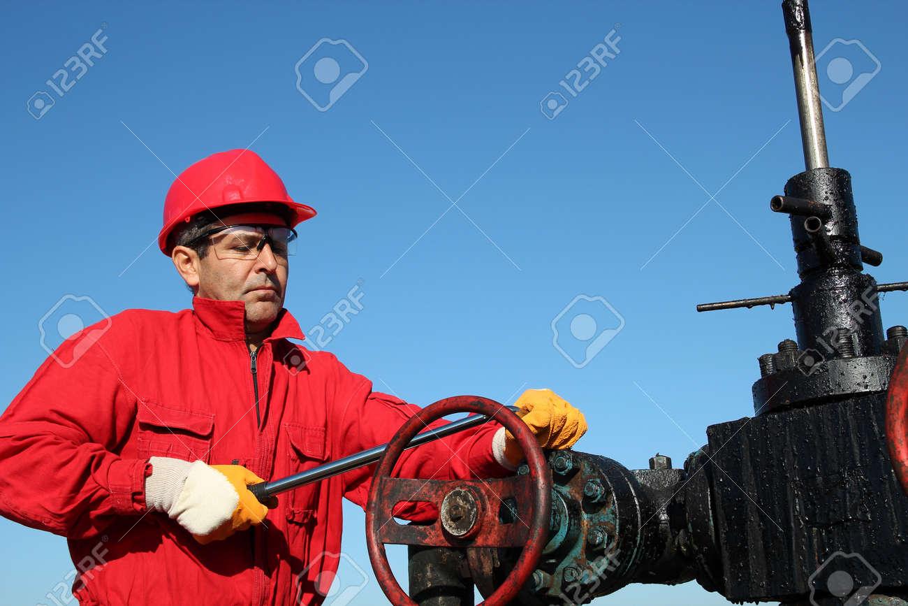 Oil Rig Valve Technician at Work - 16084897