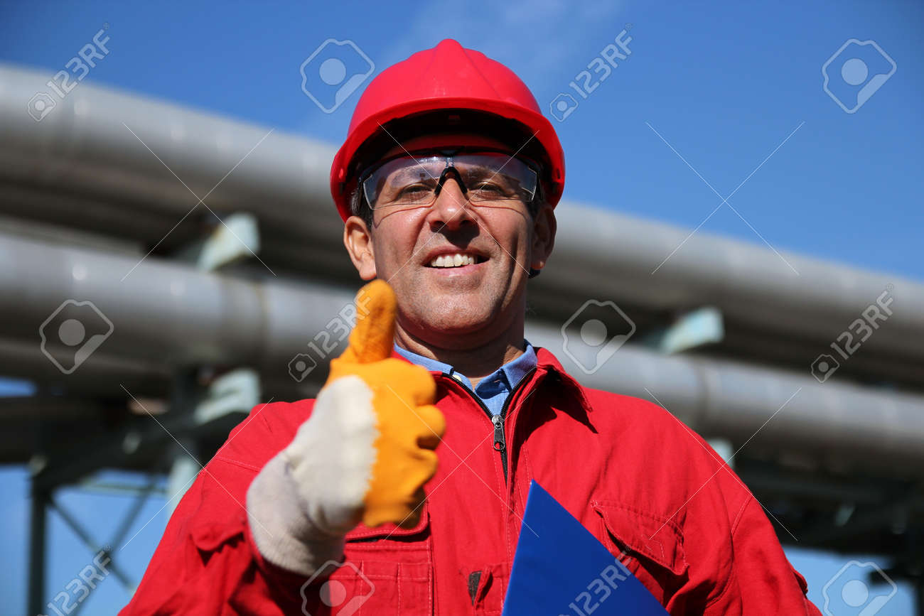 Smiling Industrial Worker Giving Thumb Up - 16253832
