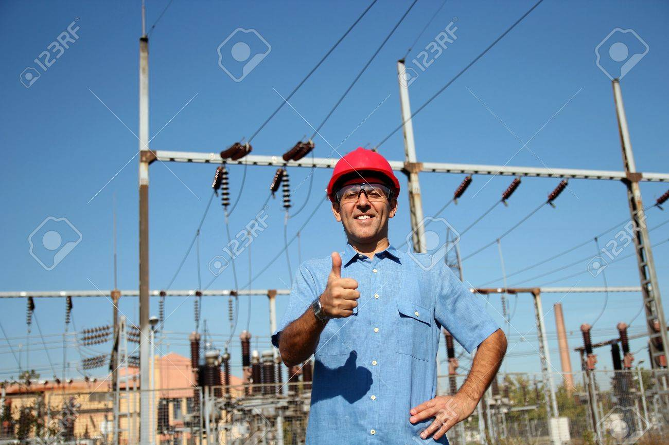 Woker at an Electrical Substation - 17034791