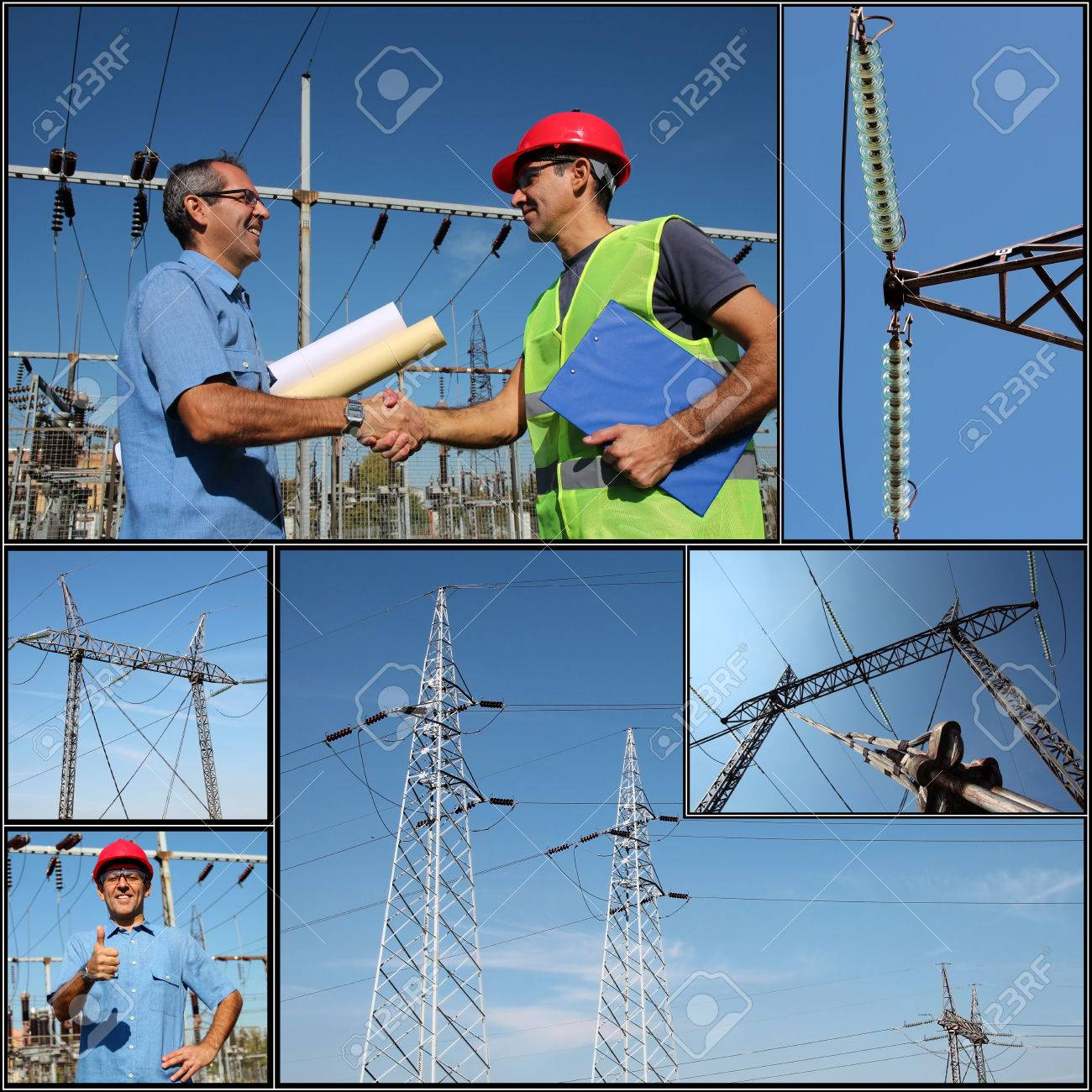 Electricity Distribution Collage of photographs showing electric company workers at the power substation with power distribution equipment - 22403837