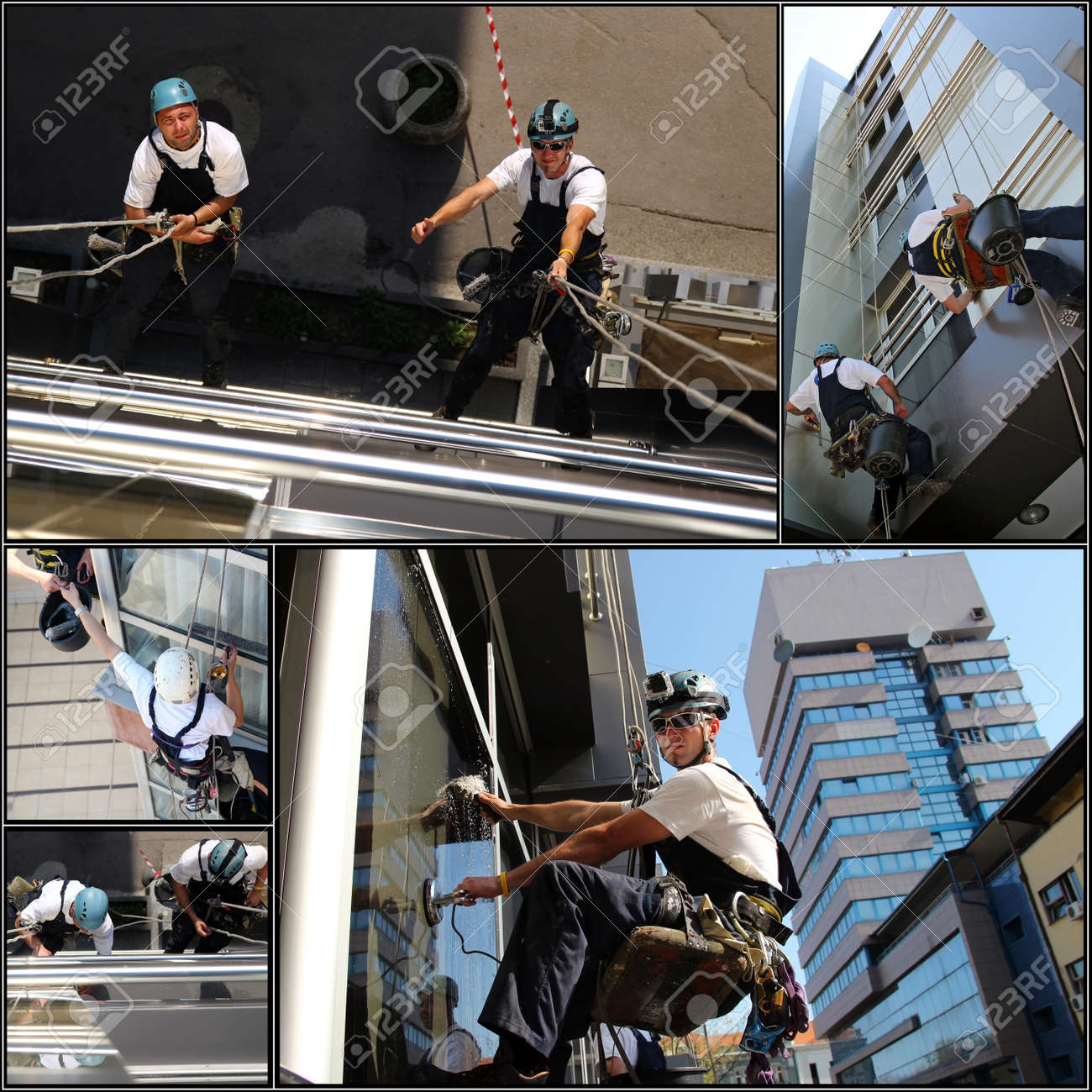 Collage of photographs showing workers washing the windows facade of a modern office building. - 27576162