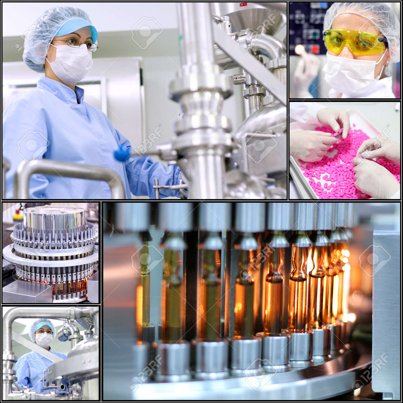 Pharmaceutical Manufacturing Technology. Collage of photographs presenting pharmaceutical concept.Pharmaceutical industry. Medicine manufacturing. - 33645947