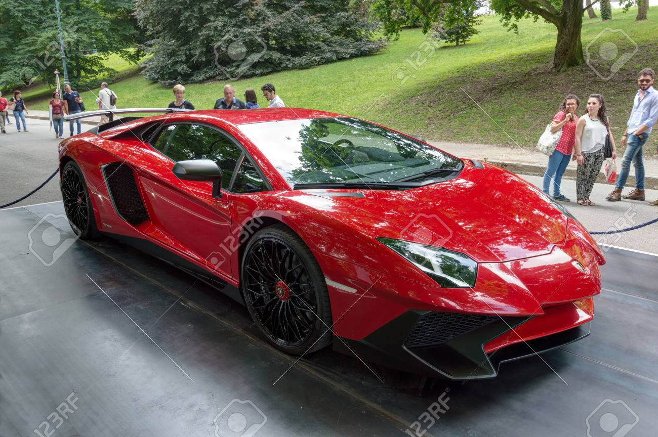 Turin Italy June 13 2015 Red Lamborghini Aventador At The Stock Photo Picture And Royalty Free Image Image 44746929
