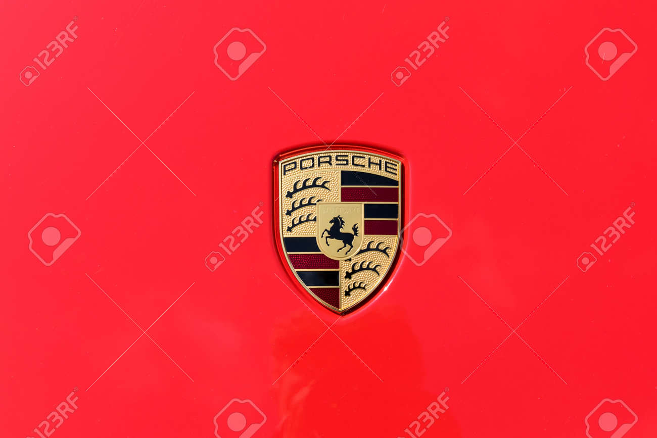 Turin Italy June 9 2016 Porsche Car Logo On A Red Background Stock Photo Picture And Royalty Free Image Image 58569785