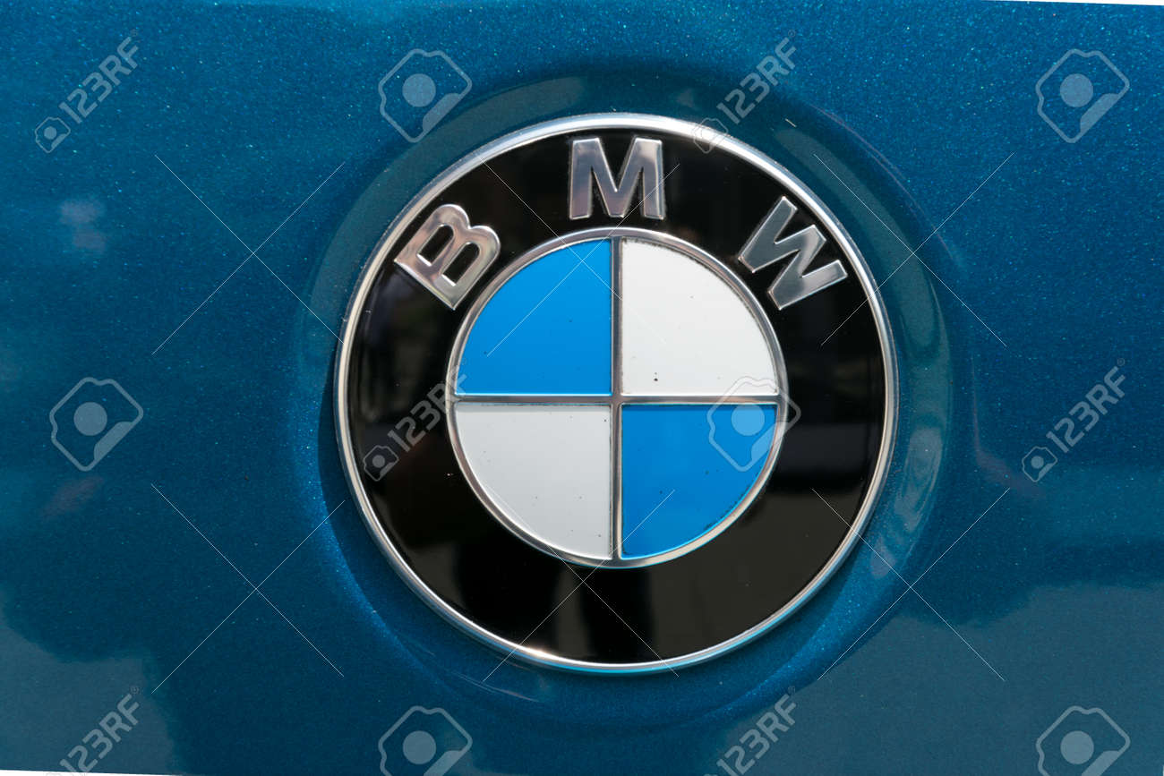 Turin Italy June 13 2015 A Bmw Logo On A Blue Car Body Stock