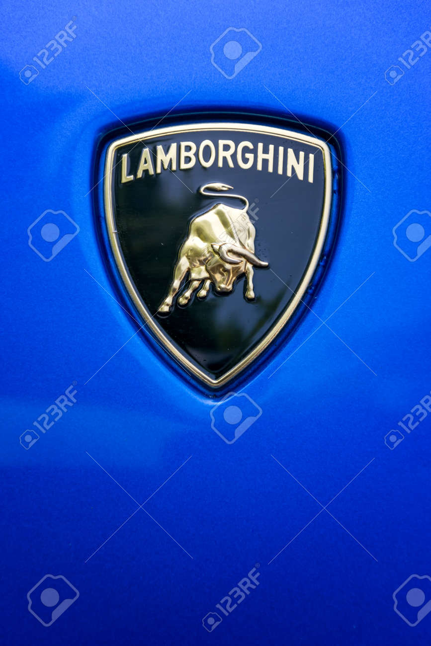 Turin Italy June 9 2016 Lamborghini Logo On The Hood Of Stock