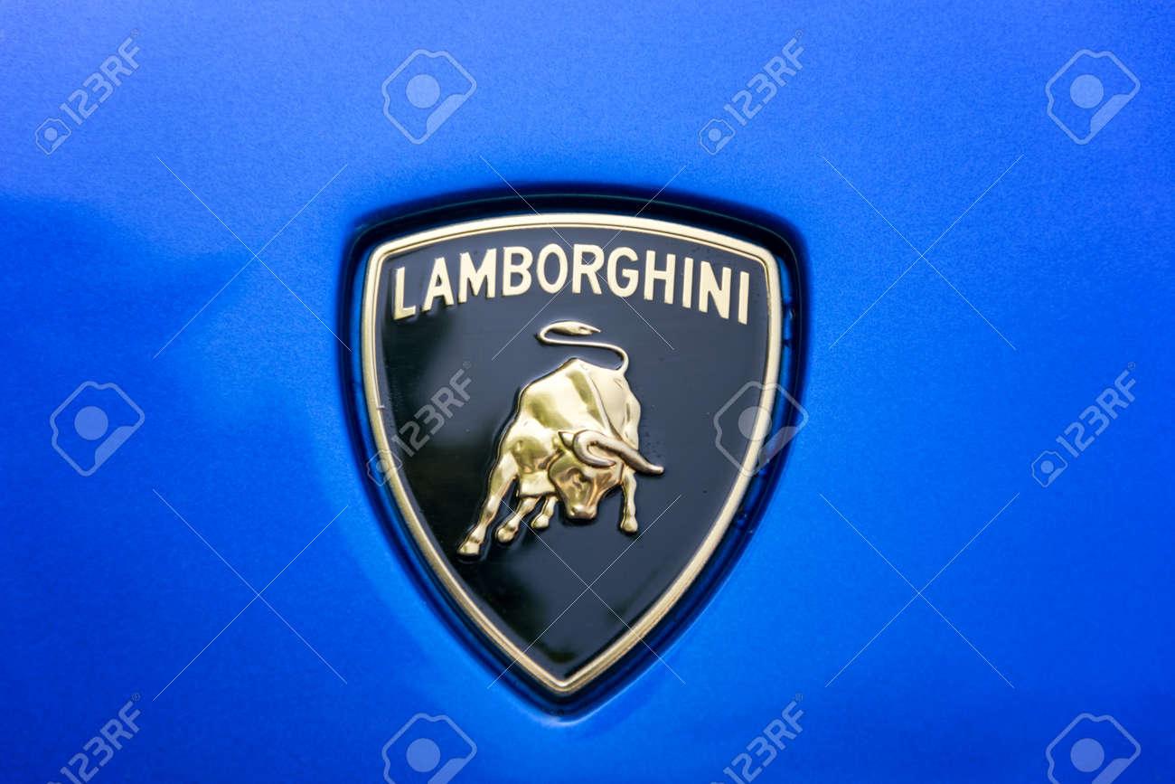Turin Italy June 9 2016 Lamborghini Logo On A Blue Car Body