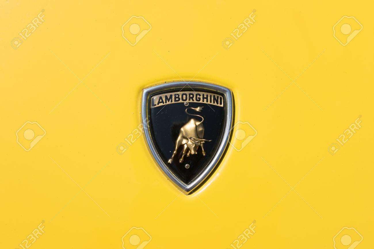 Turin Italy June 9 2016 Old Lamborghini Logo On A Yellow
